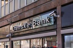 Logo della banca di Danske sulla parte anteriore del ramo La banca di Danske ? la pi? grande banca in Danimarca e una banca al mi fotografia stock