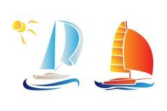 Logo della barca a vela Immagine Stock