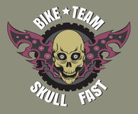 Logo della bici del cranio immagini stock
