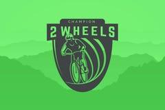 Logo della bicicletta su fondo verde Riciclaggio fuori strada Immagini Stock