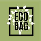 Logo della borsa di Eco di vettore con l'albero sveglio illustrazione di stock