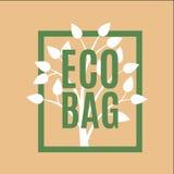 Logo della borsa di Eco di vettore con l'albero sveglio immagini stock