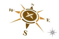 Logo della bussola isolato su fondo bianco Fotografie Stock
