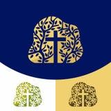Logo della chiesa Simboli cristiani L'incrocio di Jesus Christ e logo geometrico dello shapesChurch Simboli cristiani L'incrocio  illustrazione di stock