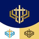 Logo della chiesa Simboli cristiani L'incrocio di Jesus Christ - un simbolo della morte e resurrezione del signore illustrazione di stock