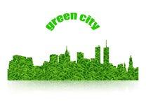 Logo della città di verde di concetto di Eco con ombra Illustrazione Vettoriale
