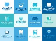 Logo della clinica, icone ed elementi dentari di progettazione Immagine Stock