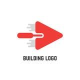 Logo della costruzione con la cazzuola rossa Immagini Stock