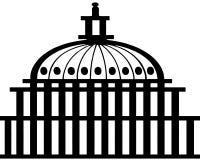 Logo della costruzione del Campidoglio Disegno semplice Vector la linea sottile icona isolata su fondo bianco Fotografie Stock Libere da Diritti