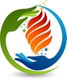 Logo della fiamma della mano Fotografia Stock