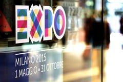 Logo della finestra del negozio dell'Expo 2015 Fotografia Stock Libera da Diritti