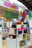 Logo della finestra del negozio dell'Expo 2015 Immagini Stock