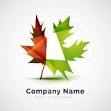 Logo della foglia, concetto stagionale di autunno Fotografia Stock