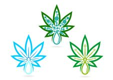 Logo della foglia infusioni, erba, skincare, marijuana, simbolo, icona della cannabis, rimedio e progettazione di massima della f Fotografie Stock