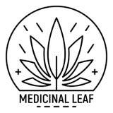 Logo della foglia della medicina della cannabis, stile del profilo royalty illustrazione gratis