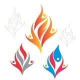 Logo della gente della fiamma Fotografia Stock