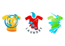 Logo della lavanderia, simbolo pulito, progettazione di massima di servizio illustrazione di stock