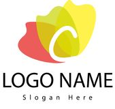 Logo della lettera C con la spruzzata dell'acqua Immagini Stock Libere da Diritti