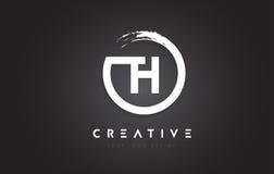 Logo della lettera circolare del TH con progettazione della spazzola del cerchio ed il nero Backg Fotografia Stock Libera da Diritti