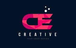Logo della lettera del CE C E con il poli concetto rosa basso porpora dei triangoli Immagine Stock Libera da Diritti