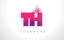 Logo della lettera del TH T H con colore e le particelle porpora rosa Dots Des Fotografie Stock Libere da Diritti