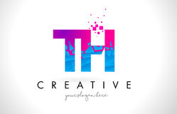 Logo della lettera del TH T H con struttura rosa blu rotta rotta Desig Immagini Stock