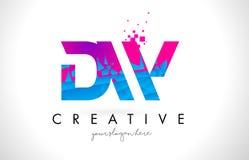 Logo della lettera di DW D W con struttura rosa blu rotta rotta Desig illustrazione vettoriale
