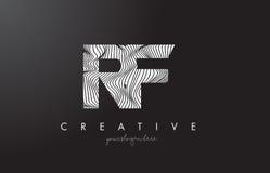 Logo della lettera di rf R F con le linee vettore della zebra di progettazione di struttura Fotografie Stock Libere da Diritti