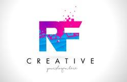 Logo della lettera di rf R F con struttura rosa blu rotta rotta Desig Fotografia Stock