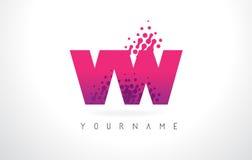 Logo della lettera di VW V W con colore e le particelle porpora rosa Dots Des illustrazione vettoriale