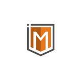 Logo della lettera m. Shield Fotografia Stock
