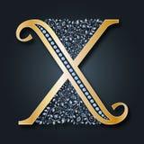 Logo X della lettera Vettore ABC Alfabeto floreale dorato su un fondo scuro illustrazione vettoriale