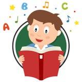 Logo della lettura del ragazzo di scuola Fotografia Stock Libera da Diritti