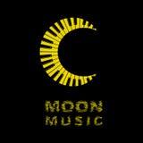 Logo della luna come icona della tastiera di piano, stile semplice Fotografie Stock