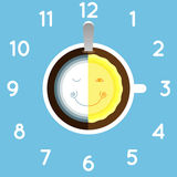 Logo della luna e di Sun e caffè della tazza Fotografie Stock