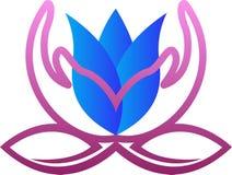 Logo della mano del fiore illustrazione di stock