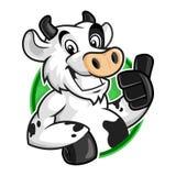 Logo della mascotte della mucca, vettore del carattere della mucca per il modello di logo, stile del fumetto fotografia stock libera da diritti