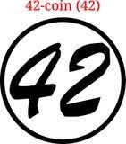 Logo della moneta 42 di vettore 42 Fotografia Stock Libera da Diritti