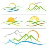 Logo della montagna di alba della natura Fotografia Stock