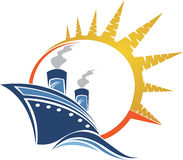 Logo della nave di potere illustrazione di stock