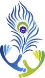 Logo della piuma delle mani Fotografia Stock