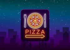 Logo della pizza nello stile al neon Insegna al neon, emblema su alimento italiano Caffè della pizza, ristorante, alimenti a rapi Immagini Stock Libere da Diritti