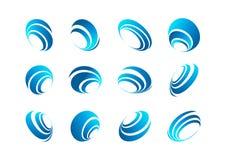 Logo della sfera, icona della terra, simbolo del vento, globo del collegamento, pianeta di rotazione, progettazione di vettore di Fotografia Stock Libera da Diritti
