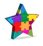 Logo della società dell'innovazione della stella di puzzle Fotografie Stock
