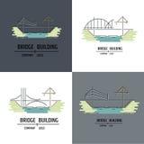 Logo della società della costruzione di ponti Linea stile di arte Immagine Stock Libera da Diritti