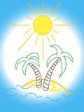 Logo della spiaggia di divertimento con la palma Immagini Stock