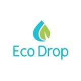 Logo della spruzzata della foglia della gocciolina della goccia di acqua di Eco Fotografia Stock