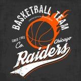 Logo della squadra di pallacanestro dei raider per lo sportwear Immagine Stock Libera da Diritti