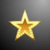 Logo della stella d'oro con le lampadine per la vostra progettazione, illustrazione di vettore Fotografie Stock Libere da Diritti