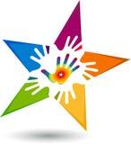 Logo della stella della mano illustrazione di stock